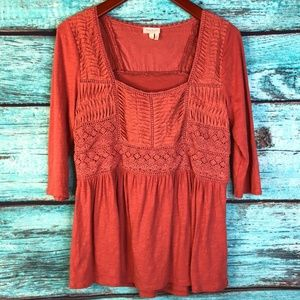 ANTHRO Meadow Rue Nosara Lace Boho Blouse